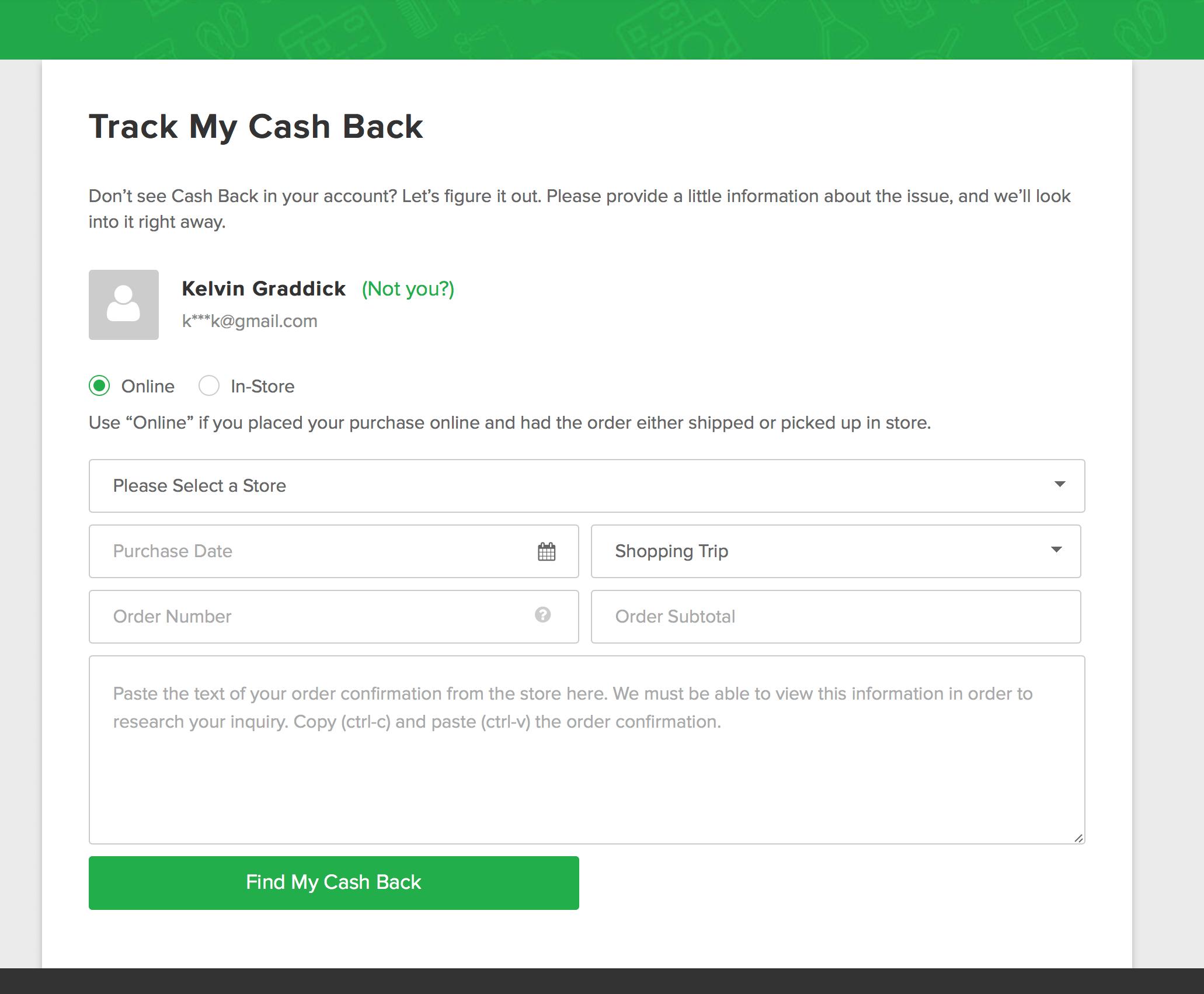 Ebates track cash back